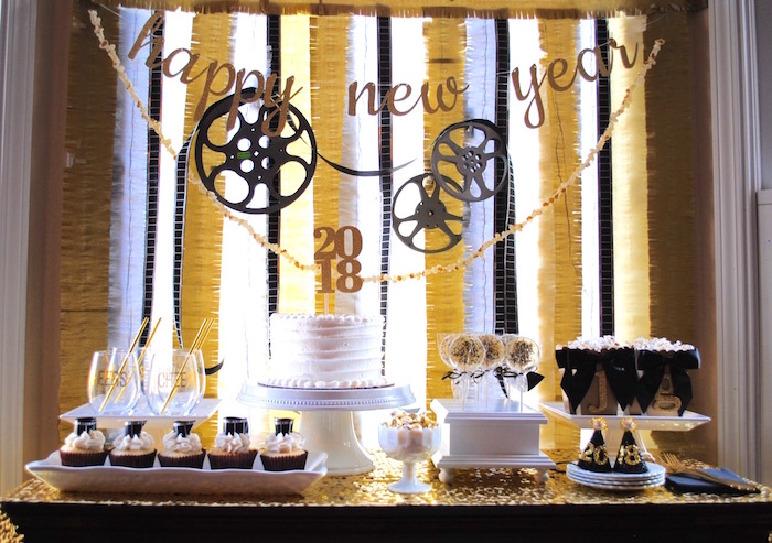 Dessert table from a NYE Movie Night on Kara's Party Ideas | KarasPartyIdeas.com