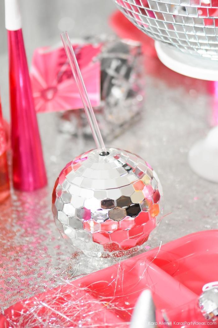 Disco Ball Cup. New Year's Eve Disco Party! FREE NYE Teen Printables! By Kara's Party Ideas | Kara Allen | KarasPartyIdeas.com