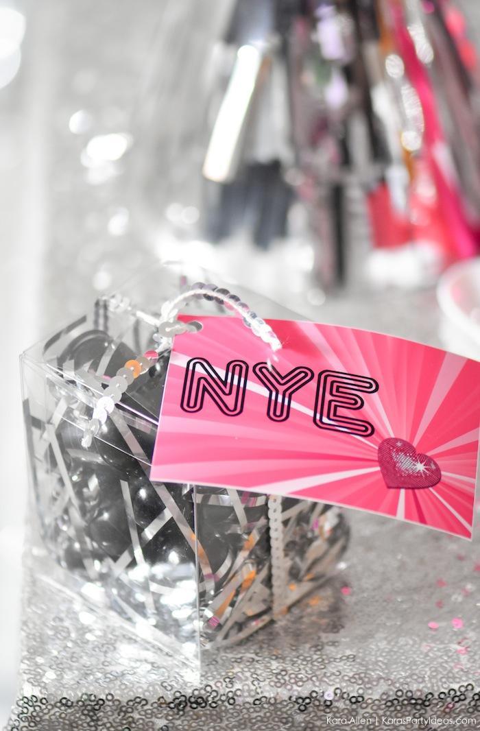 New Year's Eve Favor Boxes at a Disco Ball Party! FREE NYE Teen Printables! By Kara's Party Ideas | Kara Allen | KarasPartyIdeas.com