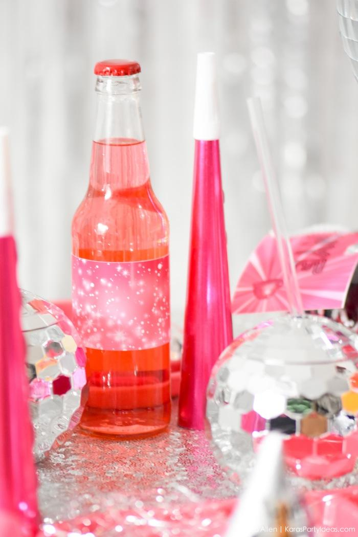 Free printable drink wrappers. New Year's Eve Disco Party! FREE NYE Teen Printables! By Kara's Party Ideas | Kara Allen | KarasPartyIdeas.com