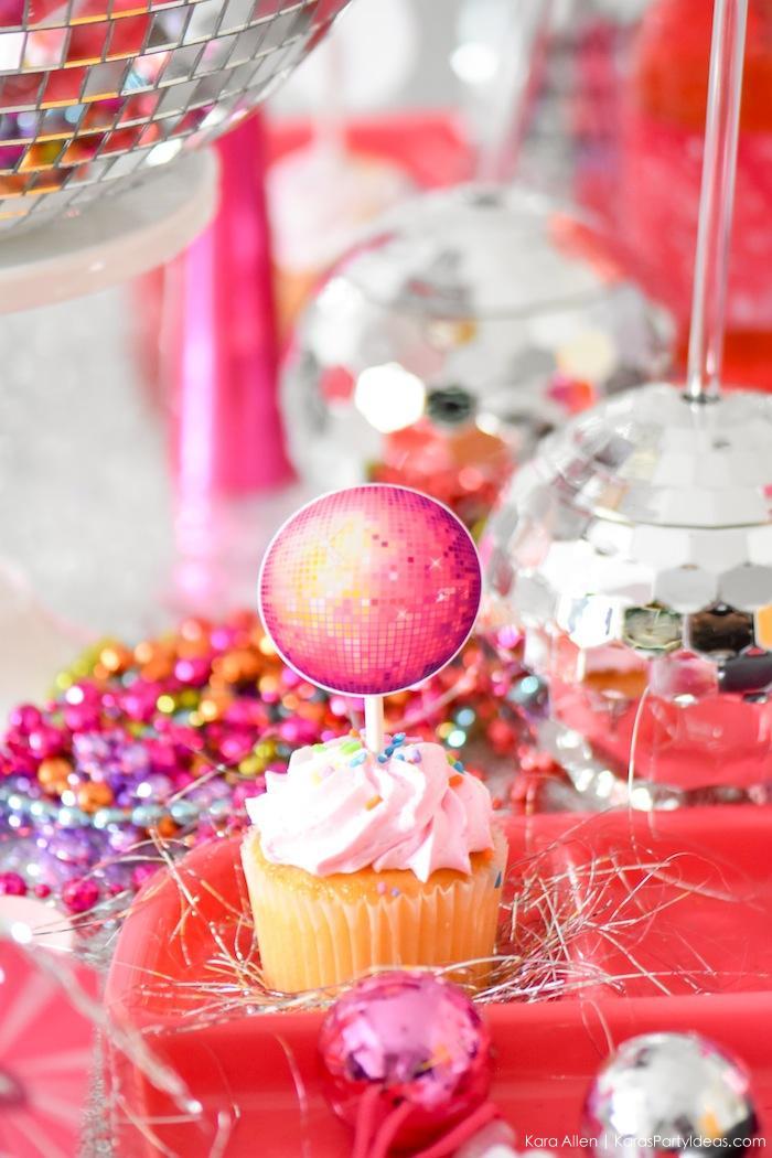 Disco Ball Cupcake Toppers. New Year's Eve Disco Party! FREE NYE Teen Printables! By Kara's Party Ideas | Kara Allen | KarasPartyIdeas.com