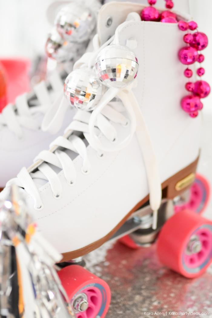 Roller Skates at a New Year's Eve Disco Party! FREE NYE Teen Printables! By Kara's Party Ideas | Kara Allen | KarasPartyIdeas.com