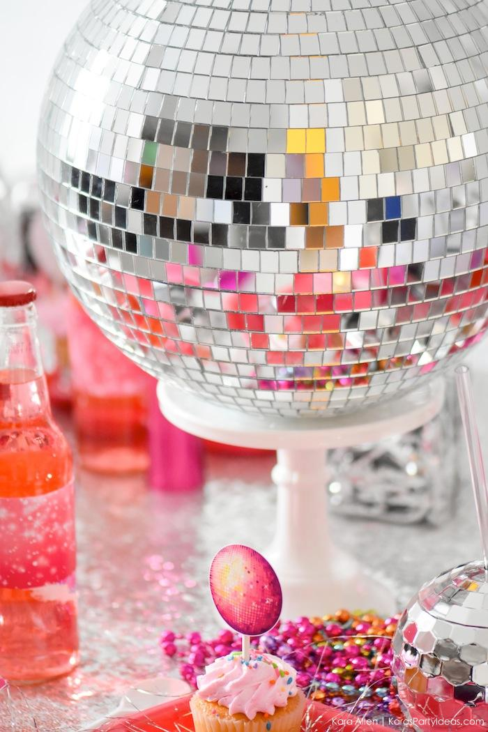 Silver and Pink New Year's Eve Disco Ball Party! FREE NYE Teen Printables! By Kara's Party Ideas | Kara Allen | KarasPartyIdeas.com