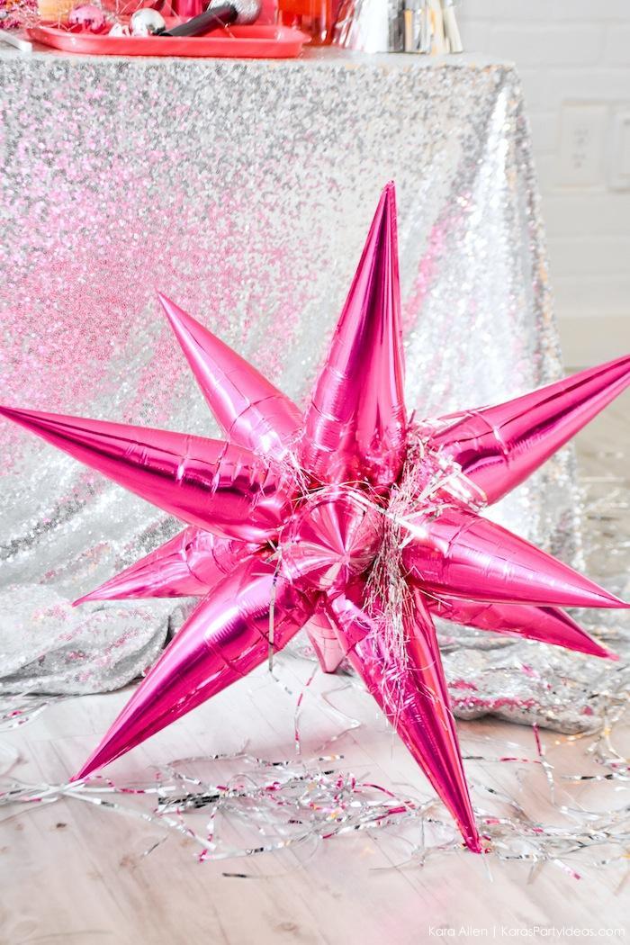 Pink Star Balloon at a New Year's Eve Disco Party! FREE NYE Teen Printables! By Kara's Party Ideas | Kara Allen | KarasPartyIdeas.com
