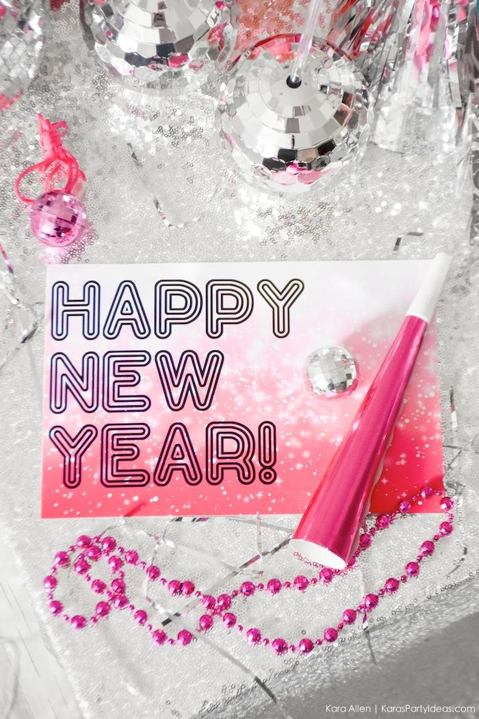 Free Happy New Year Sign! New Year's Eve Disco Party! FREE NYE Teen Printables! By Kara's Party Ideas | Kara Allen | KarasPartyIdeas.com