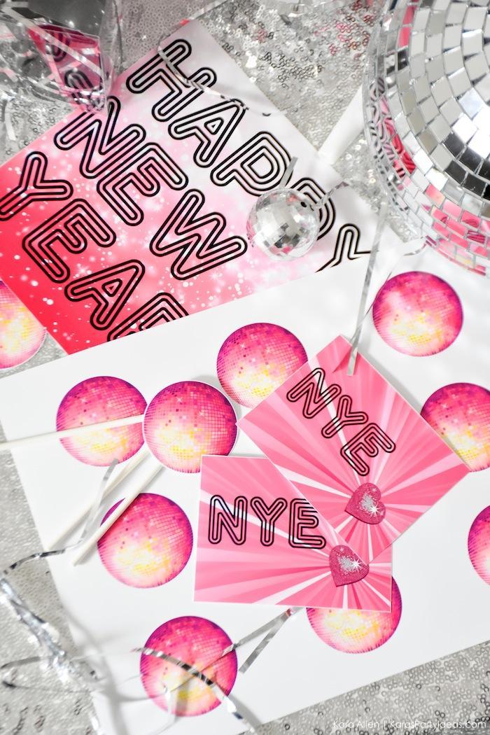FREE NYE New Year's Eve Party Printables! By Kara's Party Ideas | Kara Allen | KarasPartyIdeas.com
