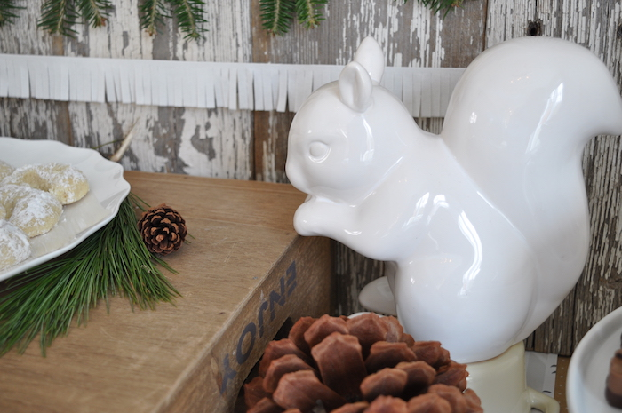 Ceramic squirrel from a Nordic Winter Cookie Decorating Party on Kara's Party Ideas | KarasPartyIdeas.com (21)