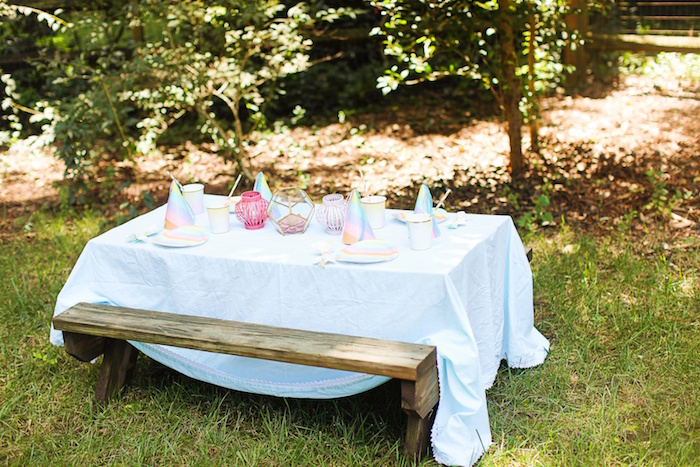 Guest table from an Outdoor Ice Cream Bar Party on Kara's Party Ideas | KarasPartyIdeas.com (22)