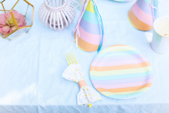 Pastel rainbow table setting from an Outdoor Ice Cream Bar Party on Kara's Party Ideas | KarasPartyIdeas.com (20)