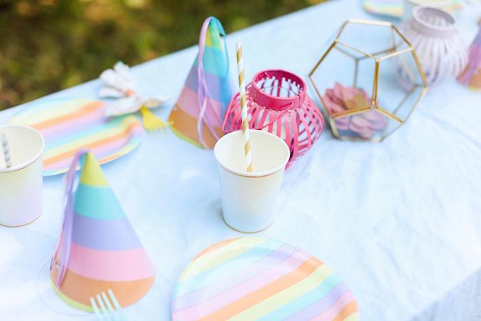 Guest table top from an Outdoor Ice Cream Bar Party on Kara's Party Ideas | KarasPartyIdeas.com (18)