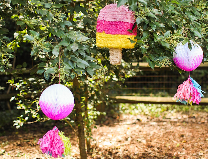 Popsicle pinatas from an Outdoor Ice Cream Bar Party on Kara's Party Ideas | KarasPartyIdeas.com (16)
