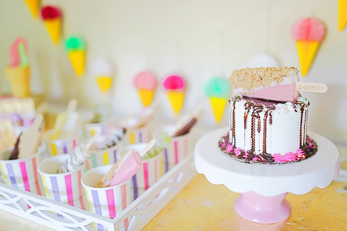Popsicle drip cake from an Outdoor Ice Cream Bar Party on Kara's Party Ideas | KarasPartyIdeas.com (34)