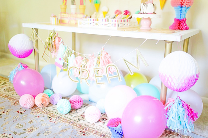 Balloons and tissue ball bunting from an Outdoor Ice Cream Bar Party on Kara's Party Ideas | KarasPartyIdeas.com (30)