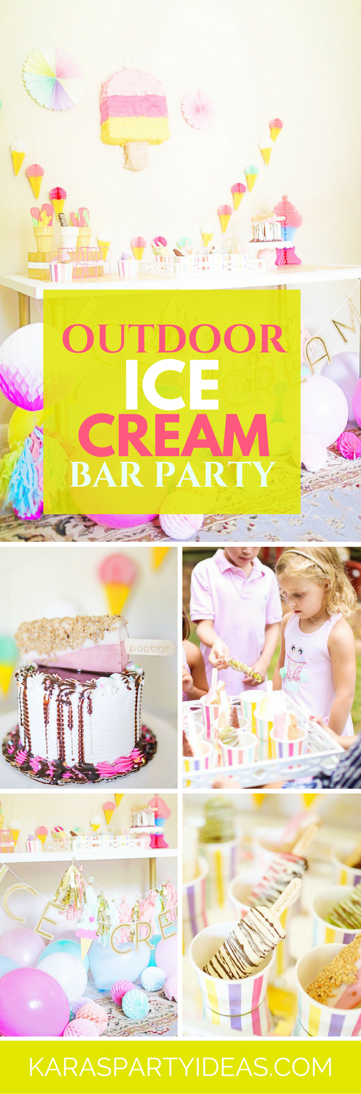 Outdoor Ice Cream Bar Party via Kara's Party Ideas - KarasPartyIdeas.com