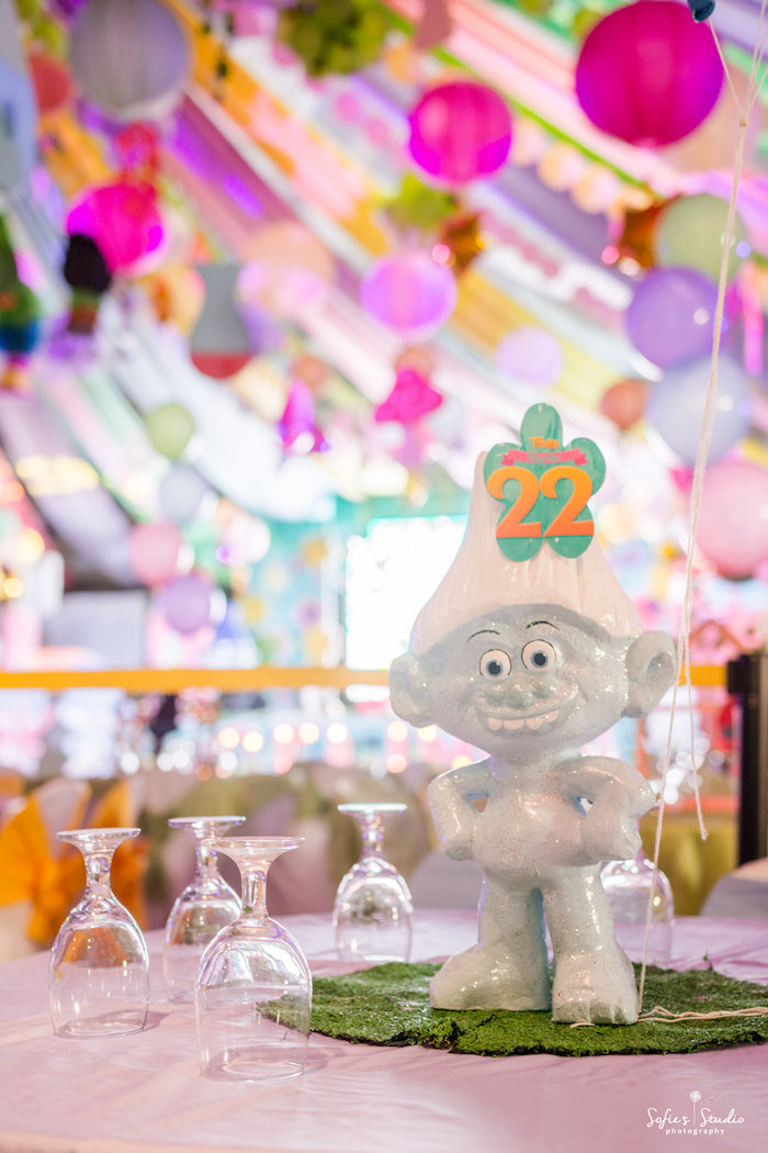 Centerpiece from a Rainbow Trolls Birthday Party on Kara's Party Ideas | KarasPartyIdeas.com (13)