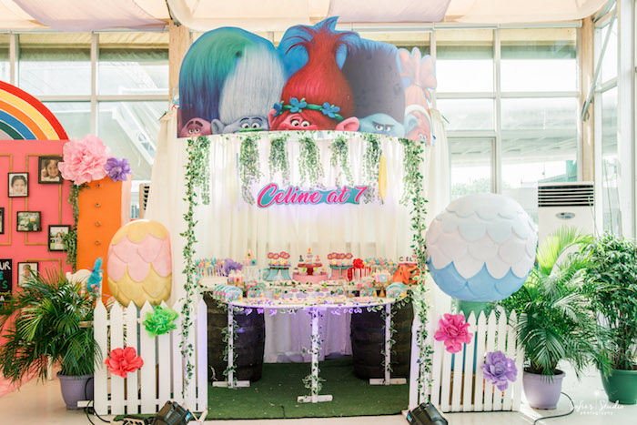 Sweet table from a Rainbow Trolls Birthday Party on Kara's Party Ideas | KarasPartyIdeas.com (10)