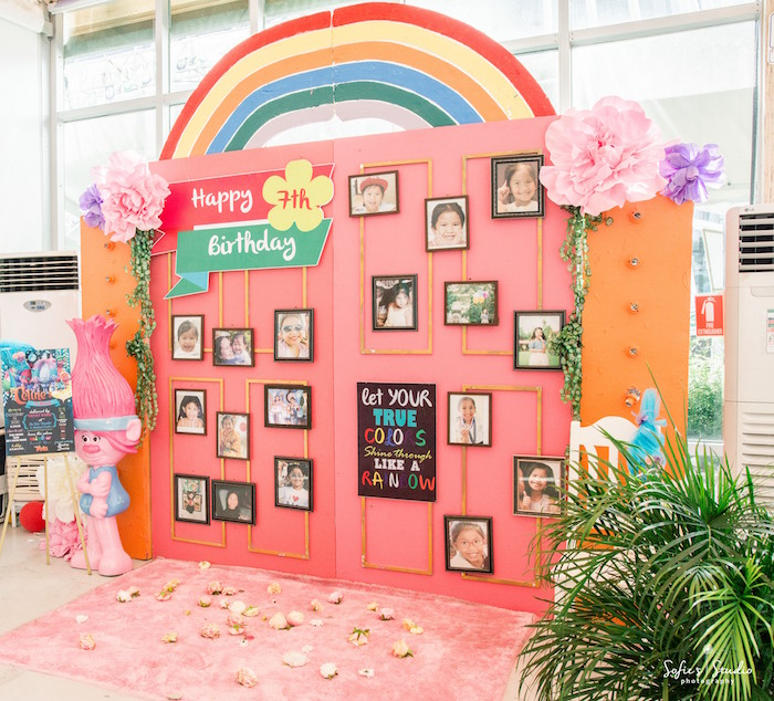 Rainbow photo wall from a Rainbow Trolls Birthday Party on Kara's Party Ideas | KarasPartyIdeas.com (9)