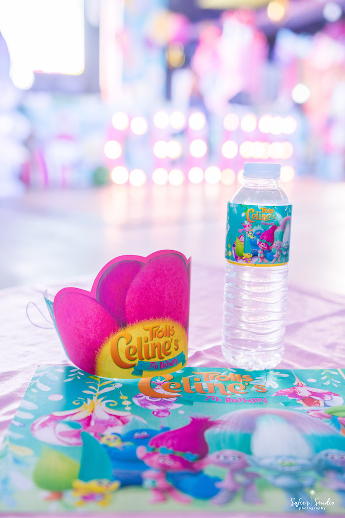 Place setting from a Rainbow Trolls Birthday Party on Kara's Party Ideas | KarasPartyIdeas.com (8)