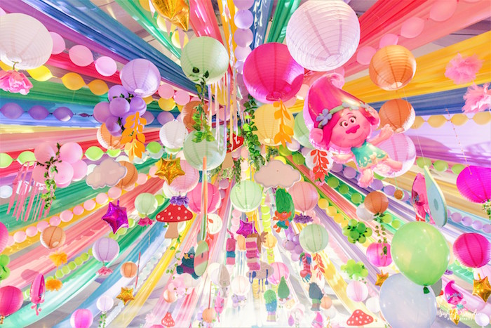 Ceilingscape from a Rainbow Trolls Birthday Party on Kara's Party Ideas | KarasPartyIdeas.com (7)