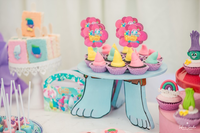 Troll cupcakes from a Rainbow Trolls Birthday Party on Kara's Party Ideas | KarasPartyIdeas.com (23)