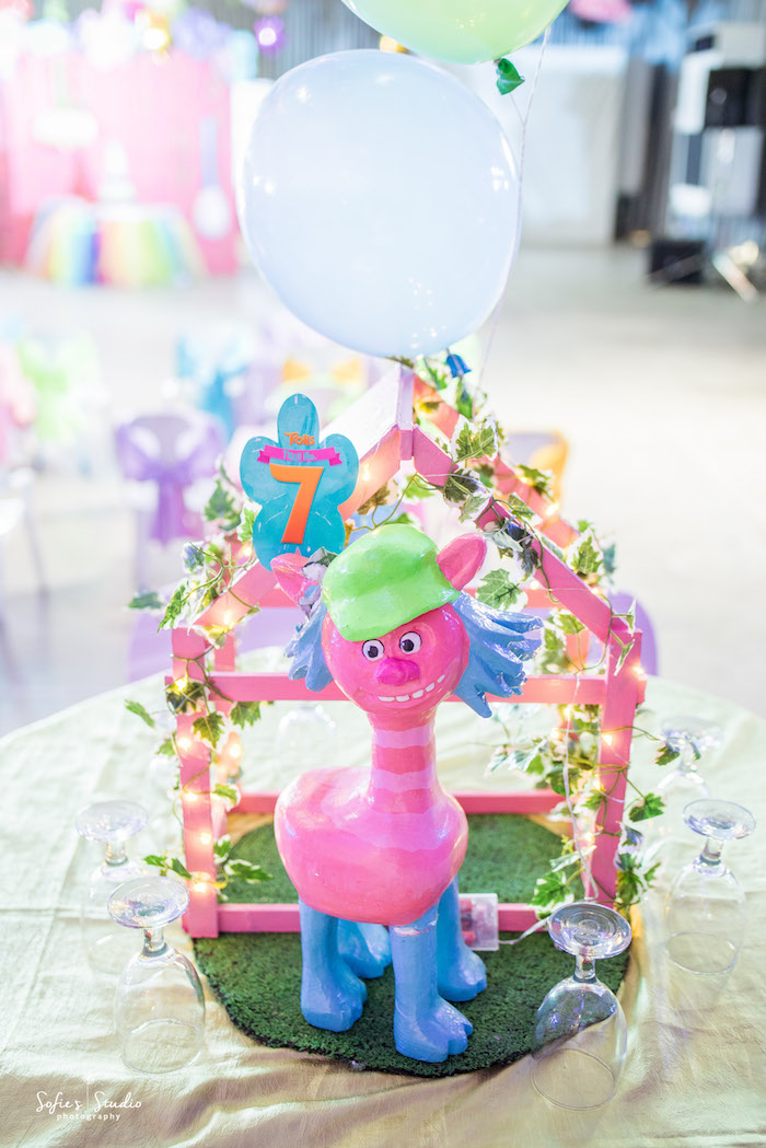 Troll table centerpiece from a Rainbow Trolls Birthday Party on Kara's Party Ideas | KarasPartyIdeas.com (4)