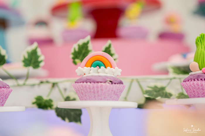 Rainbow cupcake from a Rainbow Trolls Birthday Party on Kara's Party Ideas | KarasPartyIdeas.com (21)