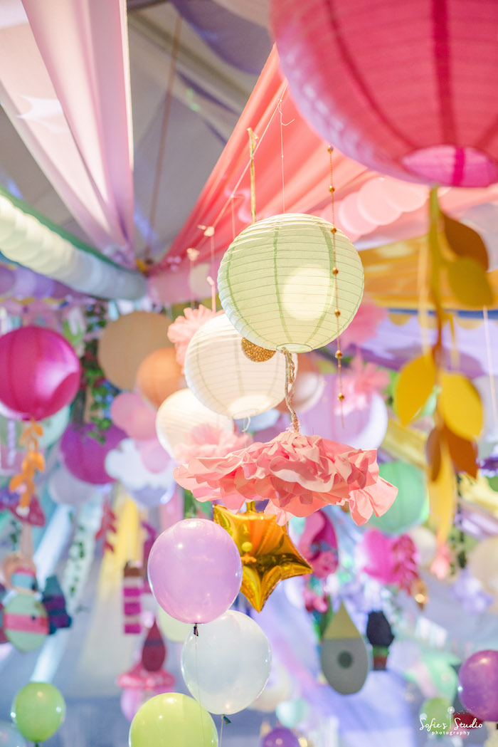 Hanging tissue decorations from a Rainbow Trolls Birthday Party on Kara's Party Ideas | KarasPartyIdeas.com (15)