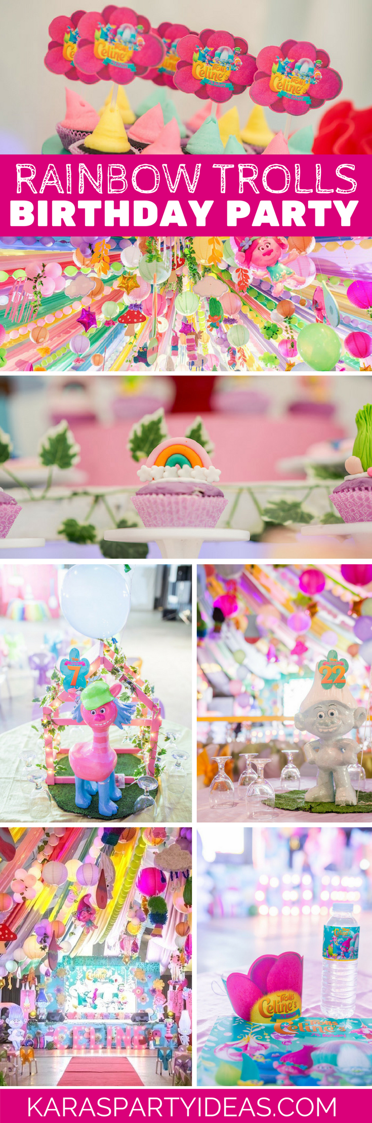Rainbow Trolls Birthday Party via Kara's Party Ideas - KarasPartyIdeas.com