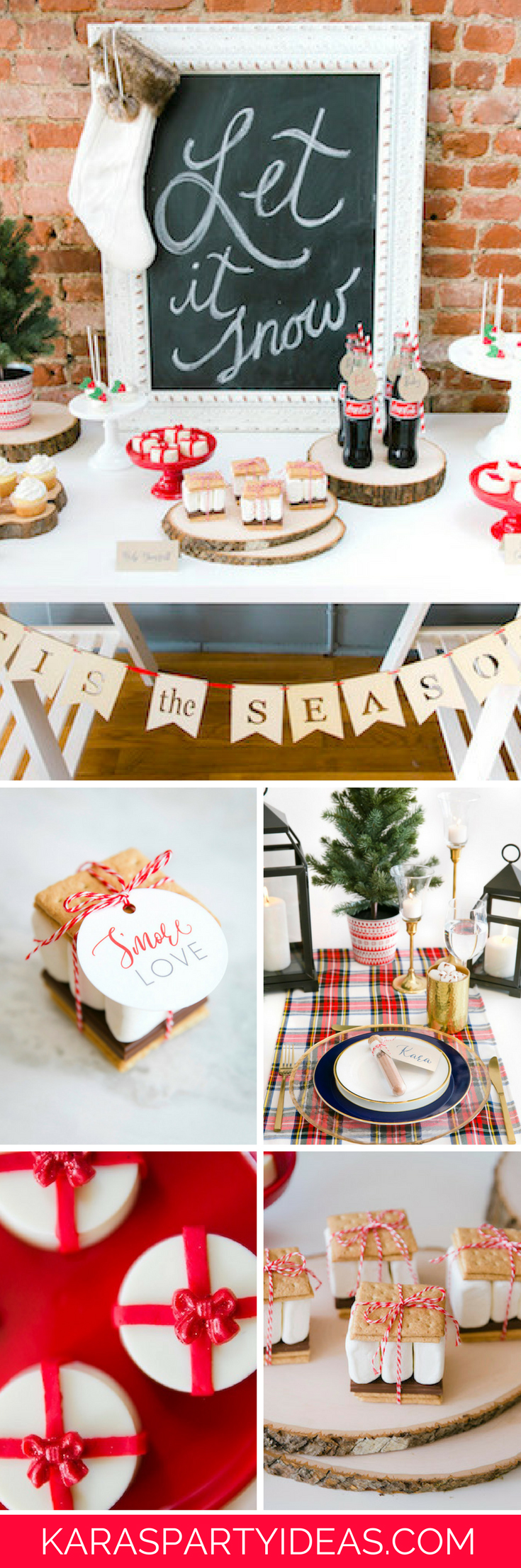 Red and White Let It Snow Christmas Party via Kara's Party Ideas - KarasPartyIdeas.com