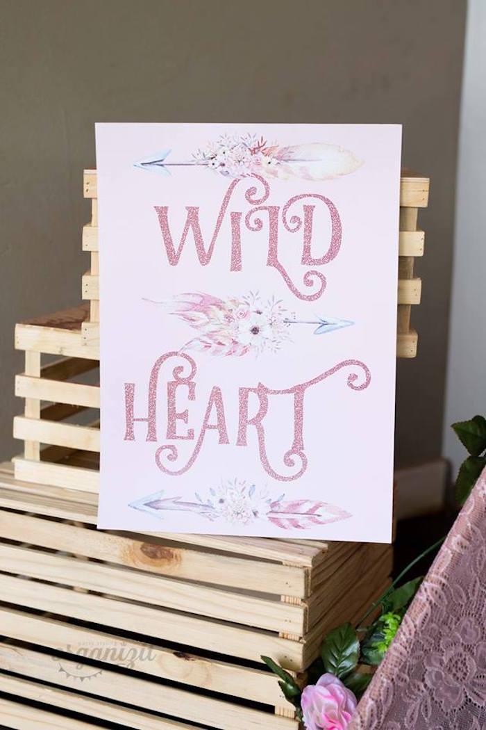 Wild at Heart Sign from a Rose Gold Boho Birthday Party on Kara's Party Ideas | KarasPartyIdeas.com (14)