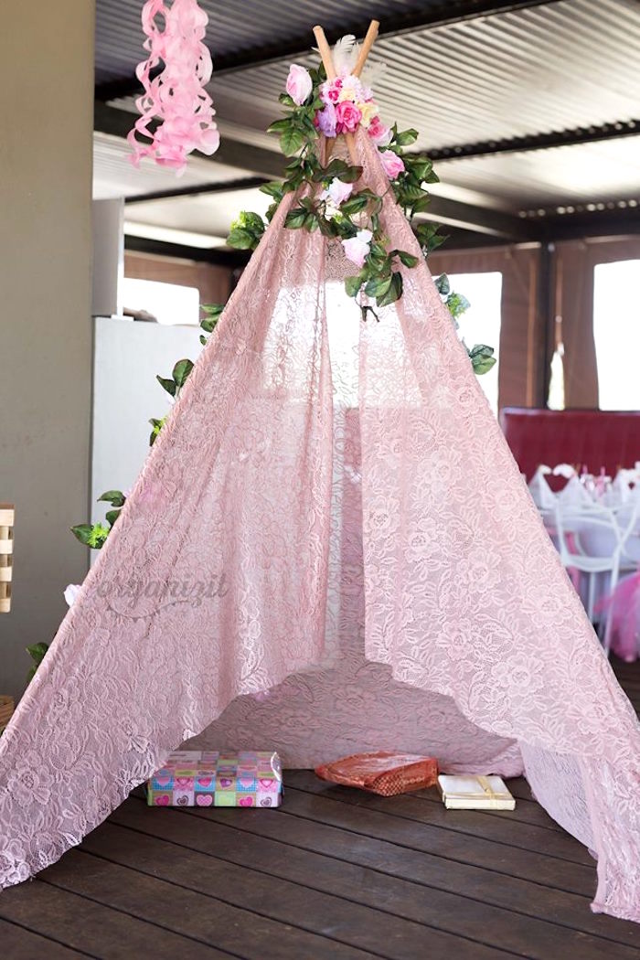 Teepee tent lounge from a Rose Gold Boho Birthday Party on Kara's Party Ideas | KarasPartyIdeas.com (12)