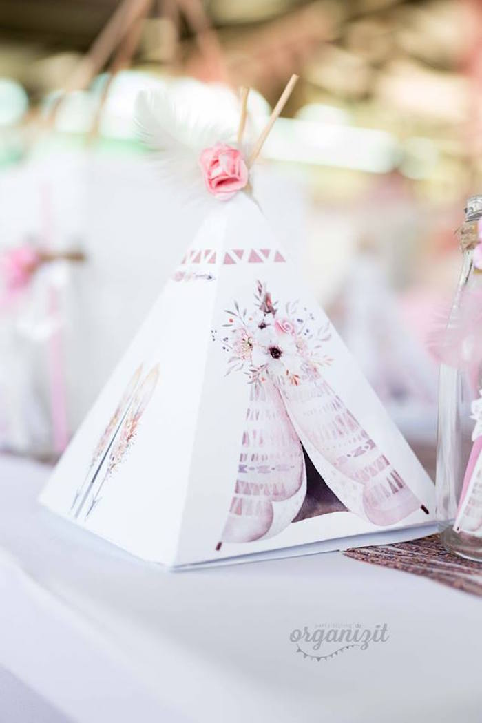 Teepee table setting from a Rose Gold Boho Birthday Party on Kara's Party Ideas | KarasPartyIdeas.com (11)