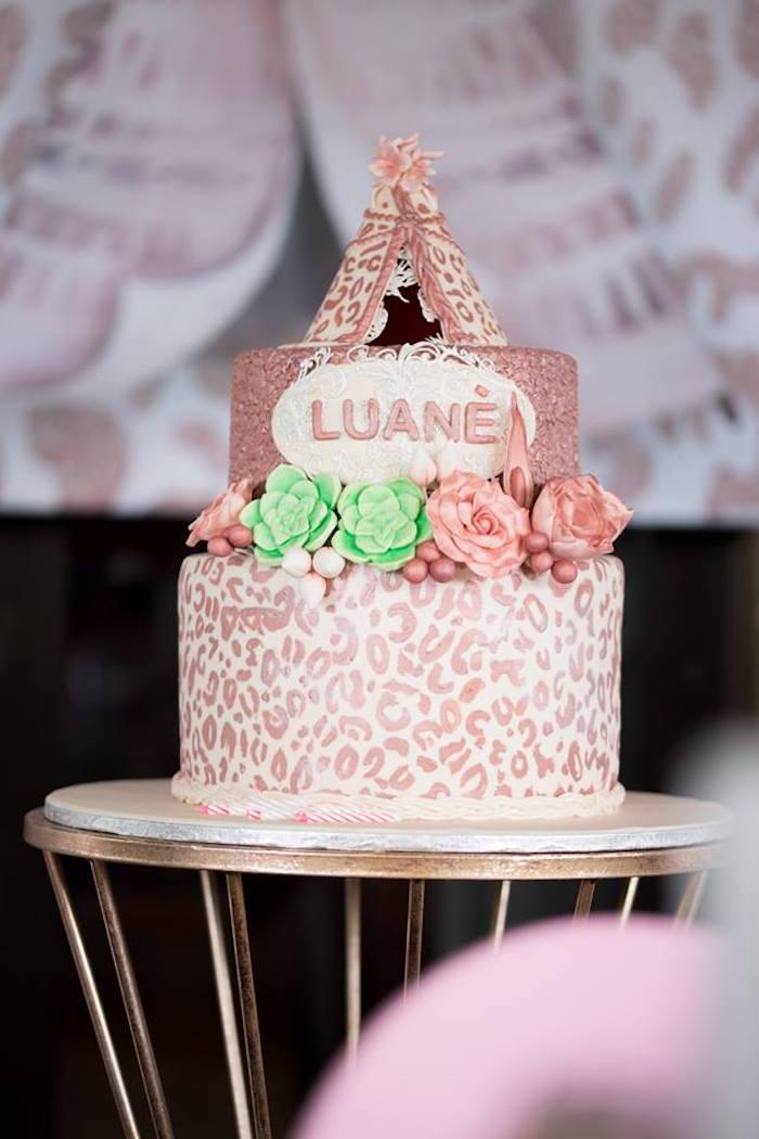 Boho cake from a Rose Gold Boho Birthday Party on Kara's Party Ideas | KarasPartyIdeas.com (10)