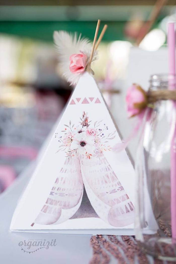 Teepee tent box from a Rose Gold Boho Birthday Party on Kara's Party Ideas | KarasPartyIdeas.com (9)