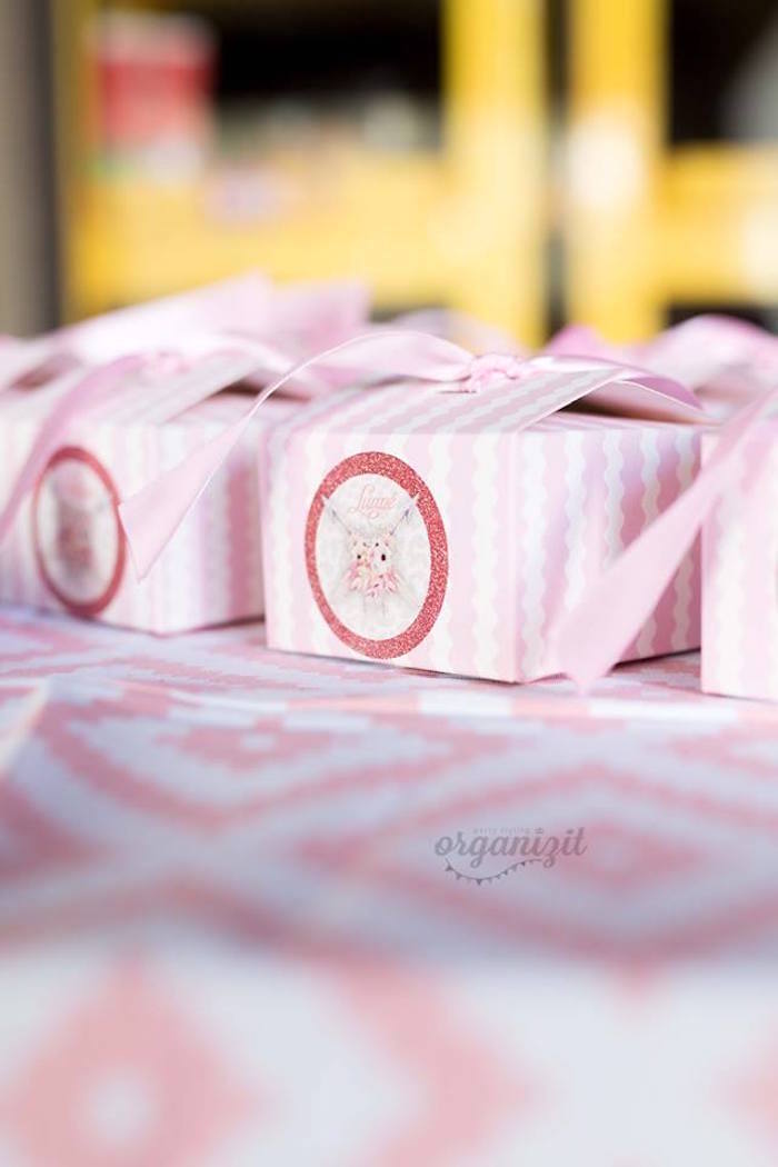 Boho favor boxes from a Rose Gold Boho Birthday Party on Kara's Party Ideas | KarasPartyIdeas.com (26)
