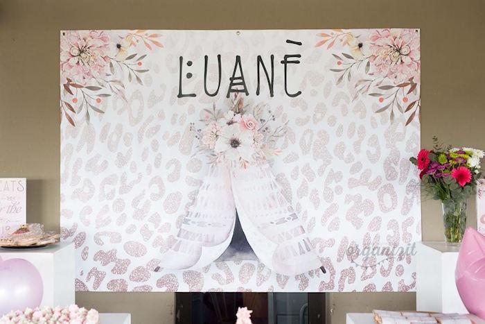 Boho backdrop from a Rose Gold Boho Birthday Party on Kara's Party Ideas | KarasPartyIdeas.com (7)
