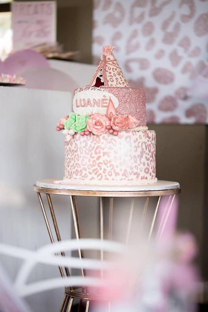 Boho Cake from a Rose Gold Boho Birthday Party on Kara's Party Ideas | KarasPartyIdeas.com (25)
