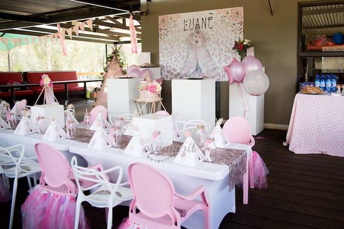Boho party spread from a Rose Gold Boho Birthday Party on Kara's Party Ideas | KarasPartyIdeas.com (24)