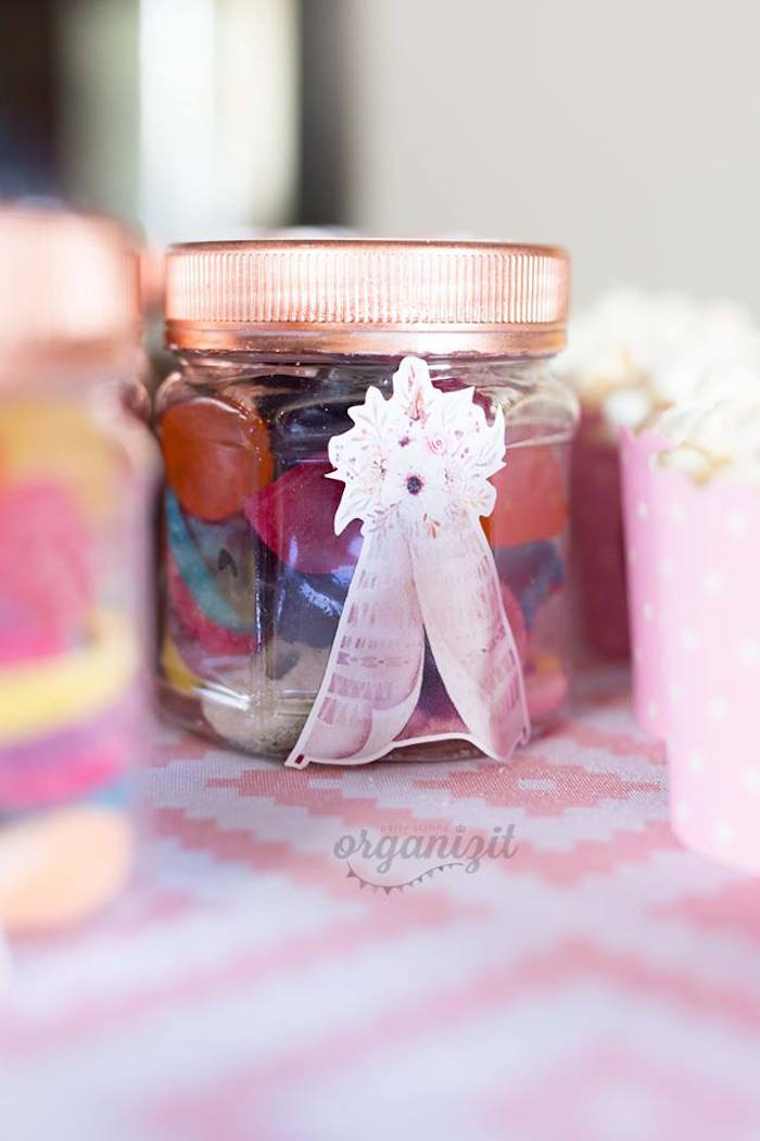 Boho favor jar from a Rose Gold Boho Birthday Party on Kara's Party Ideas | KarasPartyIdeas.com (20)