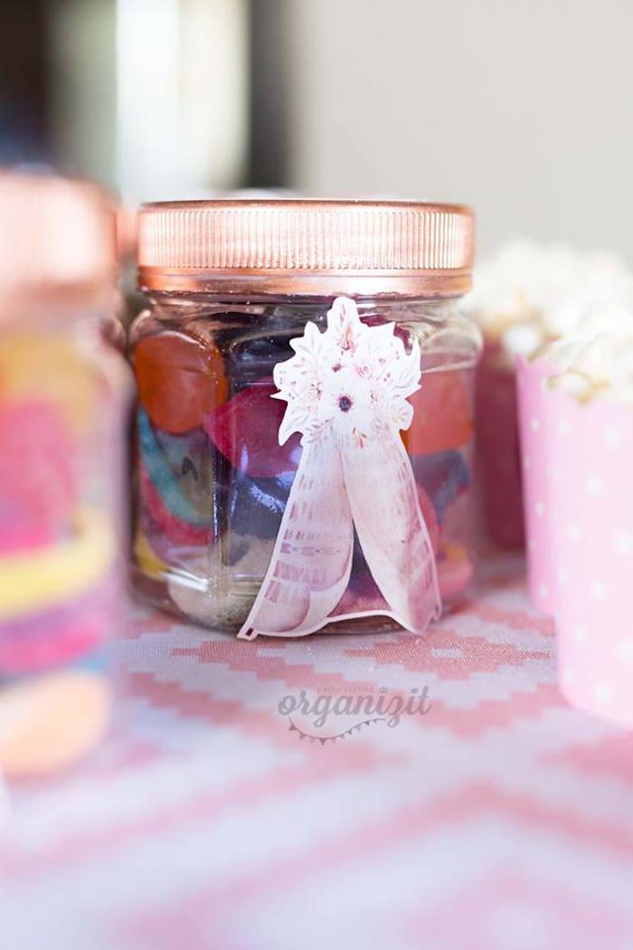 Boho favor jar from a Rose Gold Boho Birthday Party on Kara's Party Ideas | KarasPartyIdeas.com (20)