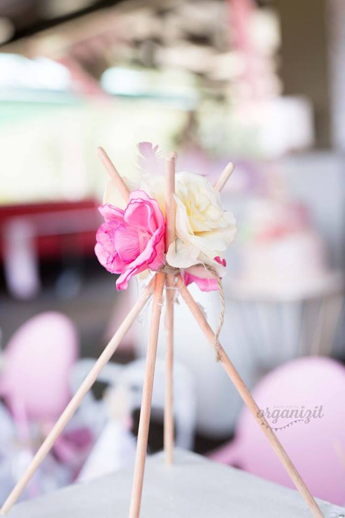 Teepee bloom centerpiece from a Rose Gold Boho Birthday Party on Kara's Party Ideas | KarasPartyIdeas.com (19)