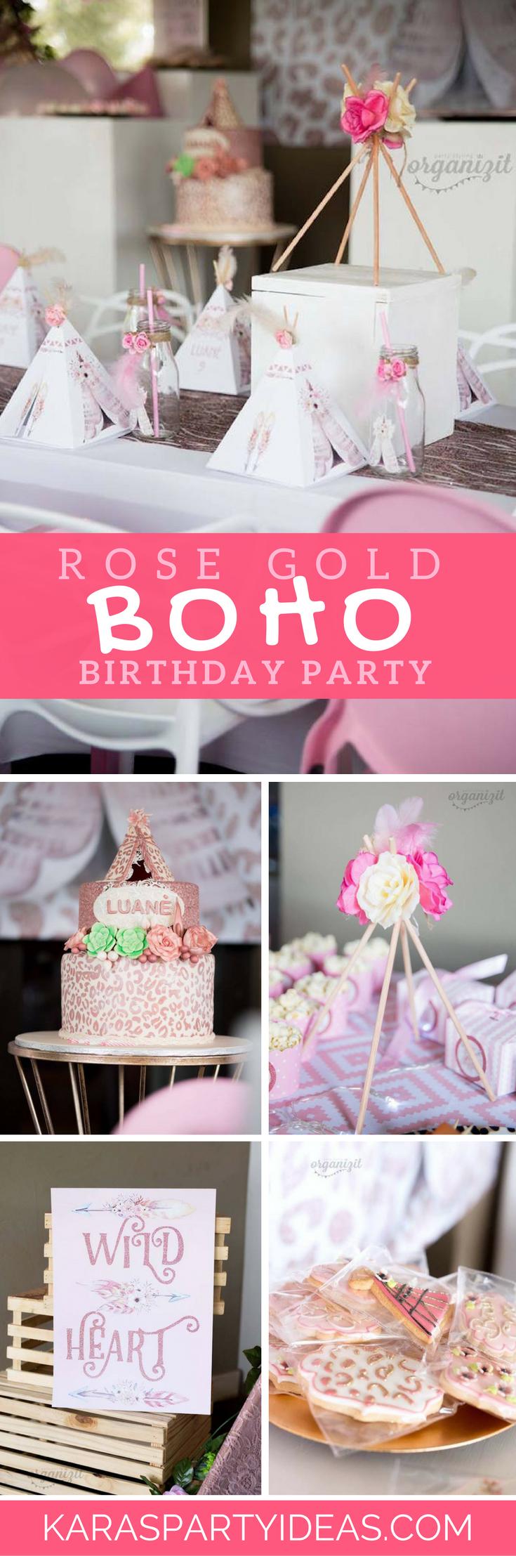 Rose Gold Boho Birthday Party via Kara's Party Ideas - KarasPartyIdeas.com
