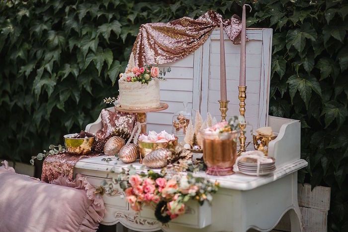 Sweet table from a Rose Gold Holiday Party on Kara's Party Ideas | KarasPartyIdeas.com (9)
