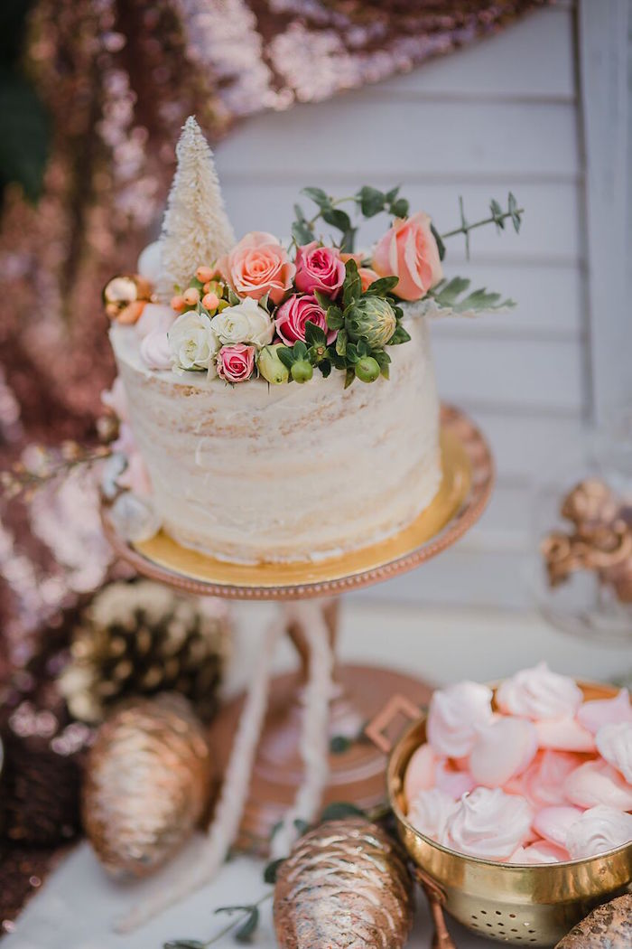 Semi-naked holiday floral cake from a Rose Gold Holiday Party on Kara's Party Ideas | KarasPartyIdeas.com (7)