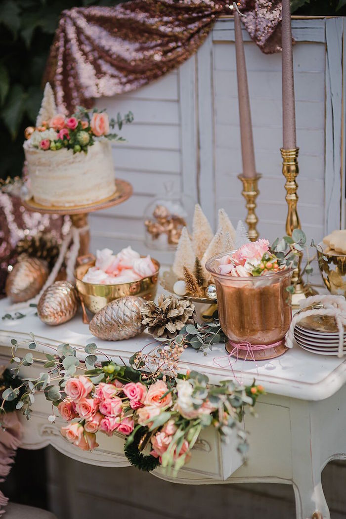 Dessert tablescape from a Rose Gold Holiday Party on Kara's Party Ideas | KarasPartyIdeas.com (5)