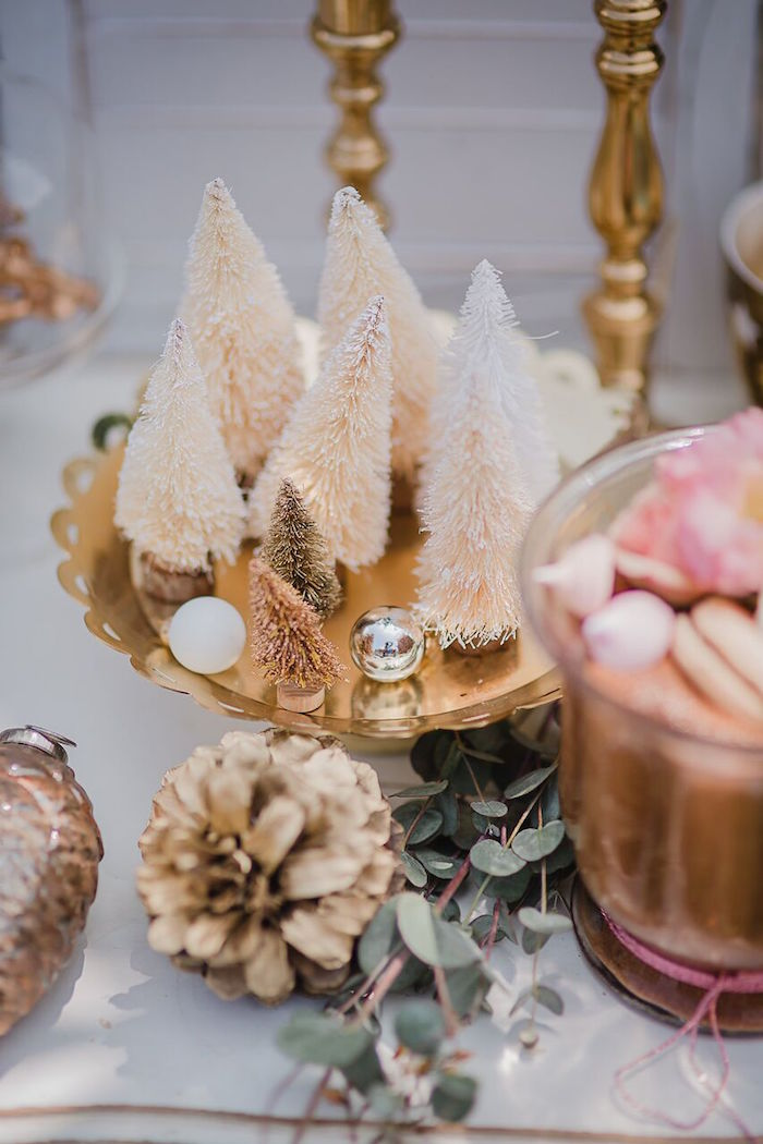 White mini trees from a Rose Gold Holiday Party on Kara's Party Ideas | KarasPartyIdeas.com (4)