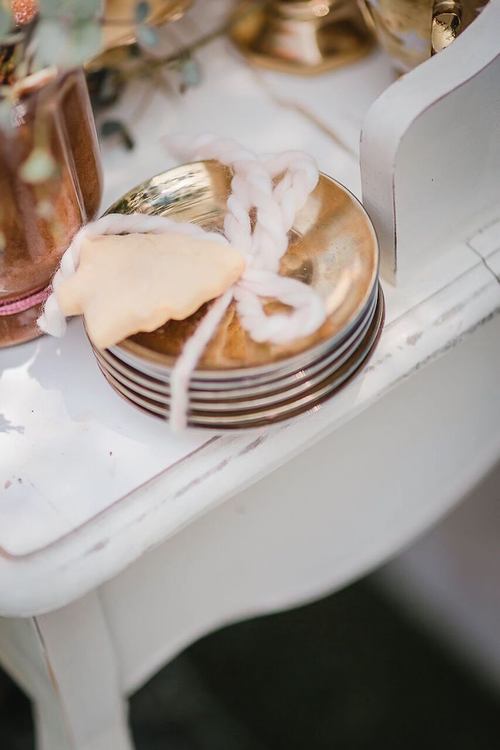 Gold plates from a Rose Gold Holiday Party on Kara's Party Ideas | KarasPartyIdeas.com (2)