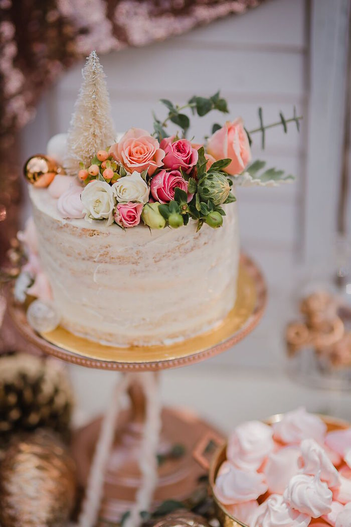 Gorgeous Semi-Naked Holiday Cake from a Rose Gold Holiday Party on Kara's Party Ideas | KarasPartyIdeas.com (15)