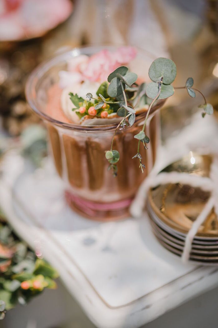 Giant pudding cup from a Rose Gold Holiday Party on Kara's Party Ideas | KarasPartyIdeas.com (14)