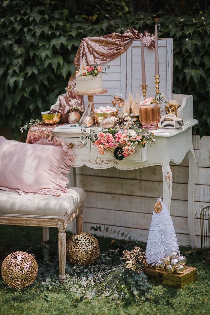 Dessert table from a Rose Gold Holiday Party on Kara's Party Ideas | KarasPartyIdeas.com (13)